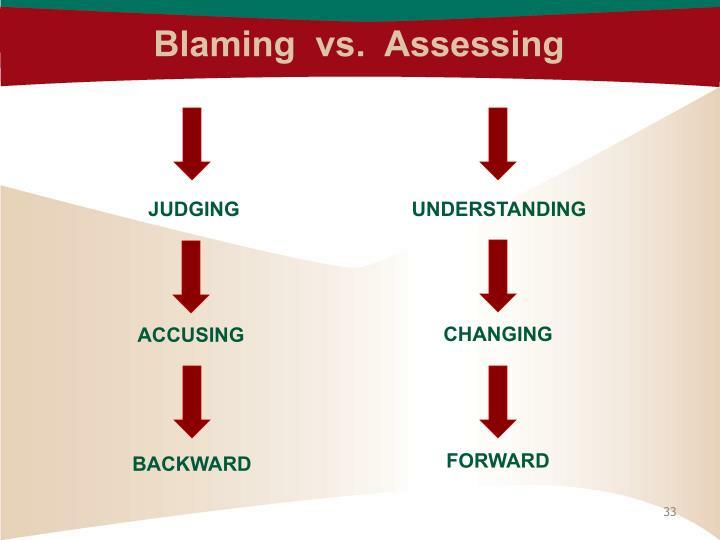 Blaming  vs.  Assessing