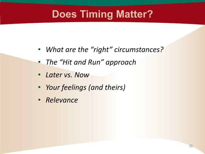 Does Timing Matter?