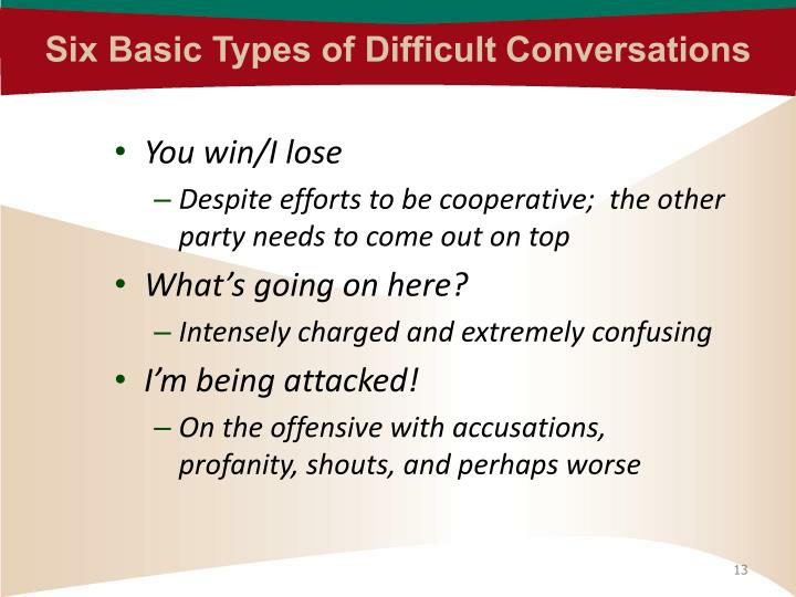 Six Basic Types of Difficult