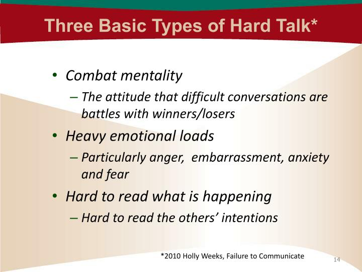 Three Basic Types of Hard Talk*