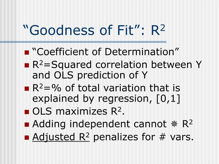 """Goodness of Fit"": R"