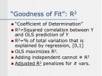 goodness of fit r 2