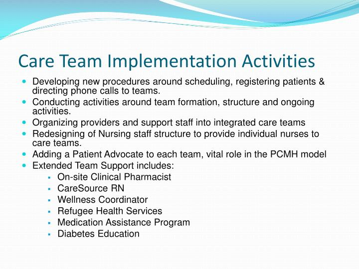 Care Team Implementation Activities