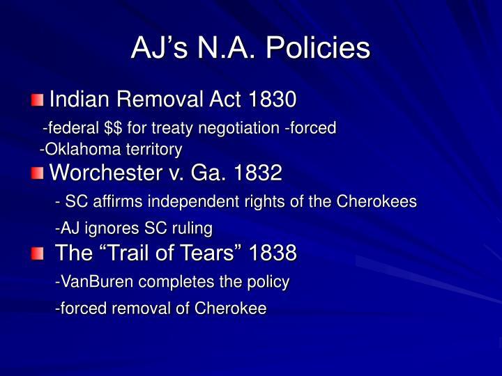 AJ's N.A. Policies