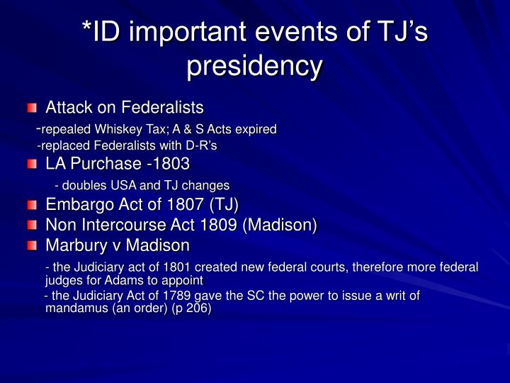*ID important events of TJ's presidency