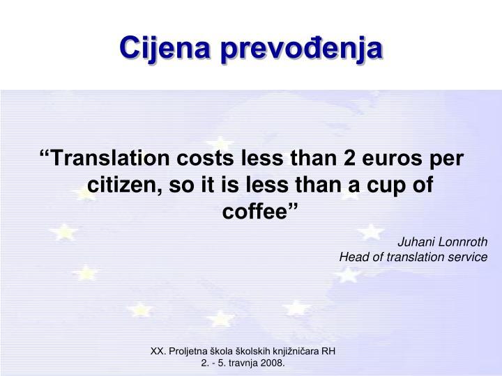 Cijena prevođenja