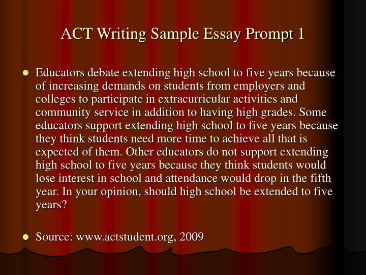 ACT Writing Sample Essay Prompt 1
