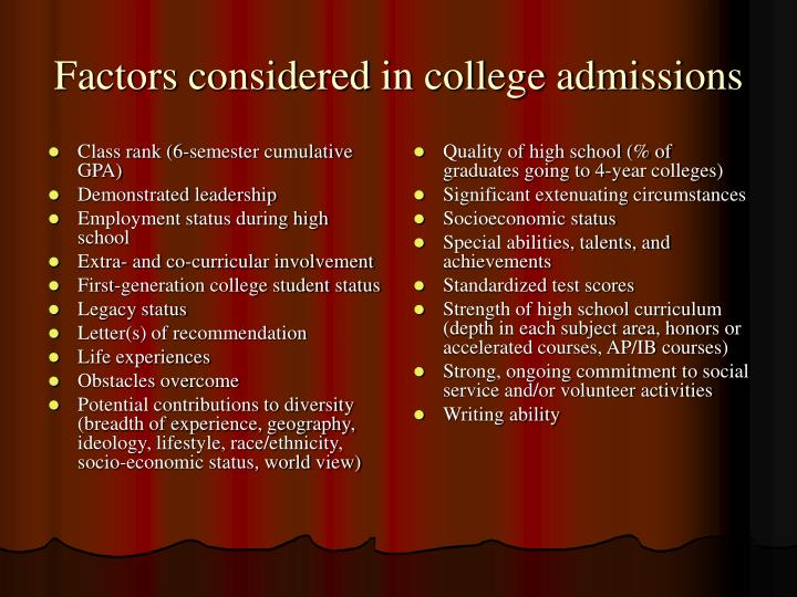 Factors considered in college admissions