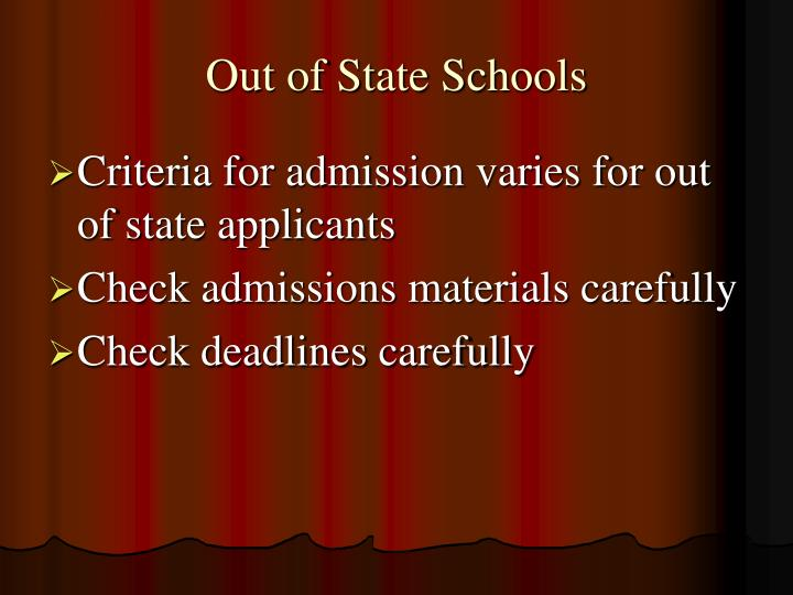 Out of State Schools