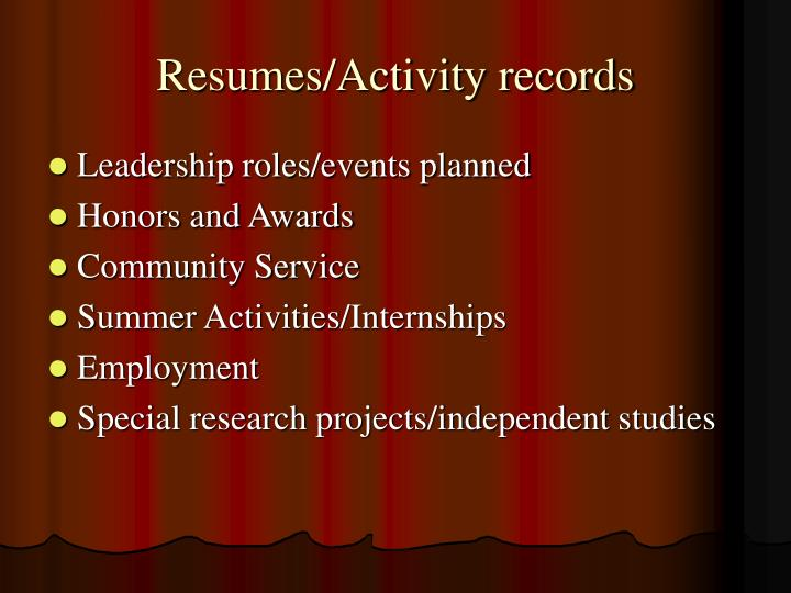 Resumes/Activity records