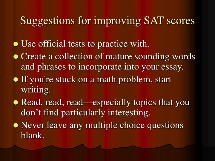 Suggestions for improving SAT scores