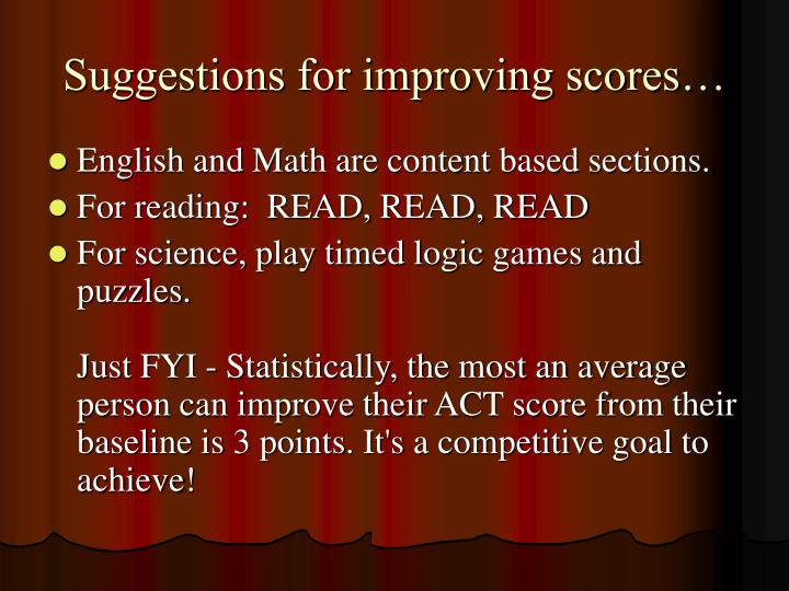 Suggestions for improving scores…