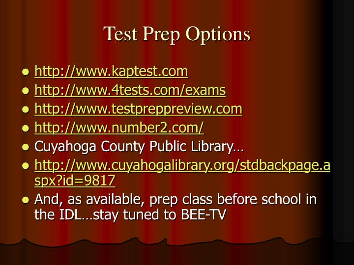 Test Prep Options
