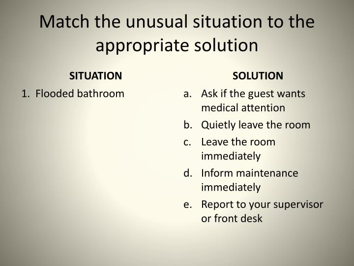 Match the unusual situation to the appropriate solution