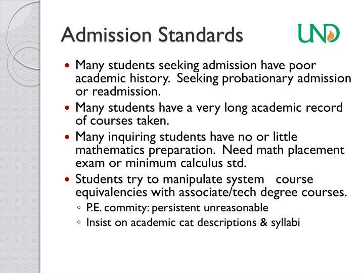 Admission Standards