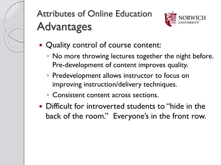 Attributes of Online Education