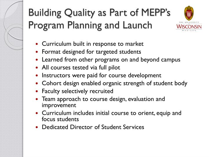 Building Quality as Part of MEPP's Program Planning and Launch