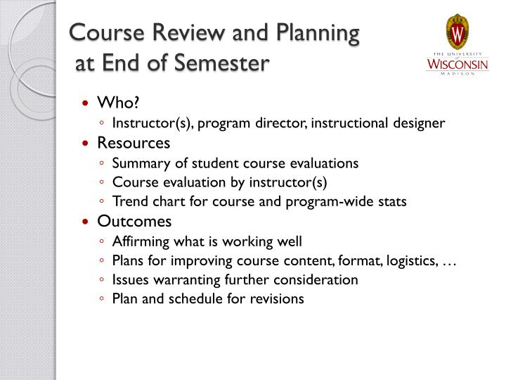 Course Review and Planning