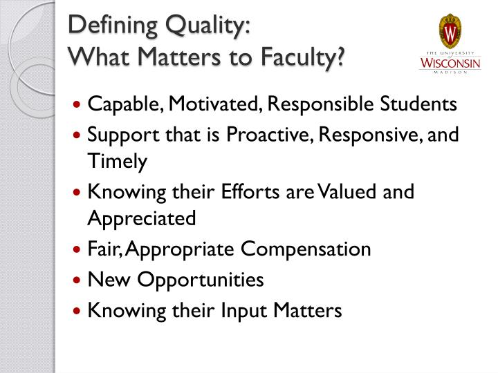 Defining Quality: