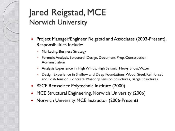 Jared reigstad mce norwich university