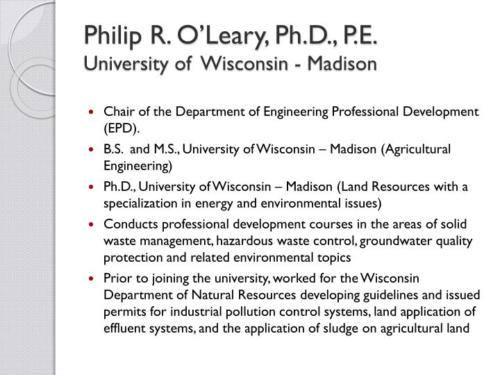 Philip R. O'Leary, Ph.D., P.E.
