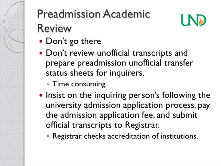 Preadmission Academic