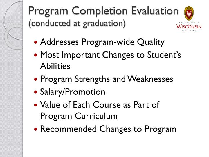 Program Completion Evaluation