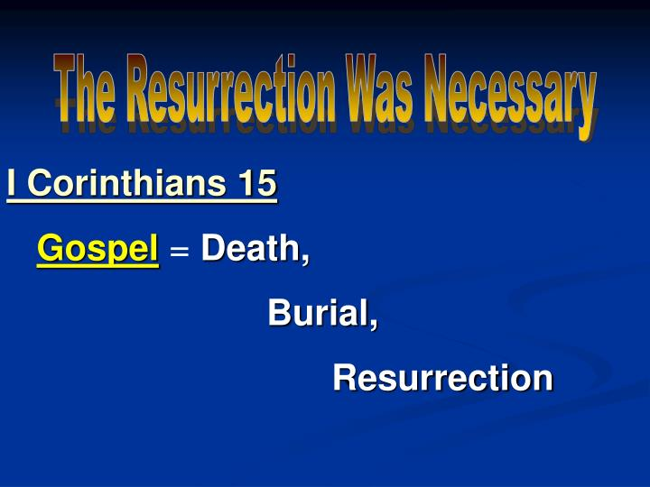 The Resurrection Was Necessary
