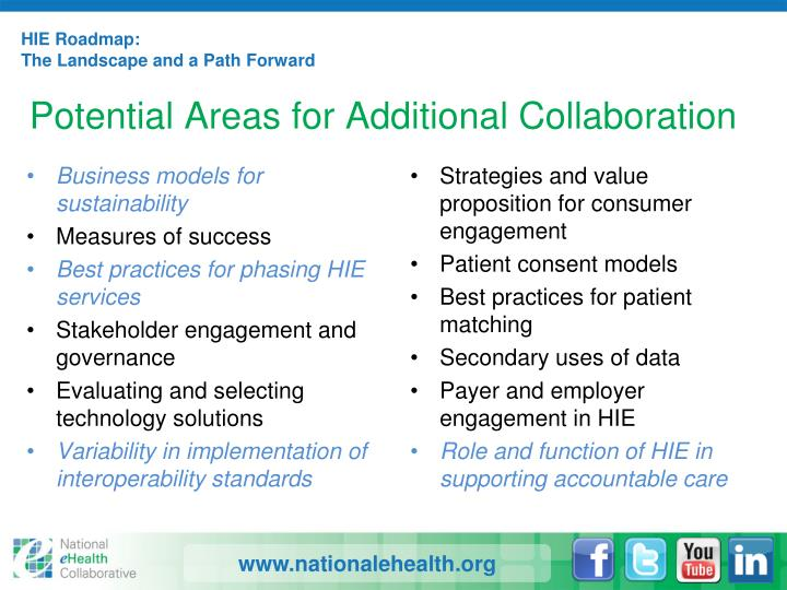 Potential Areas for Additional Collaboration