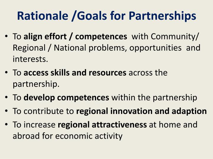 Rationale /Goals for Partnerships