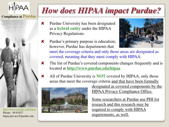 How does HIPAA impact Purdue