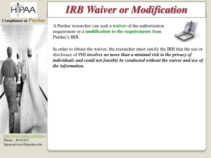 IRB Waiver or Modification