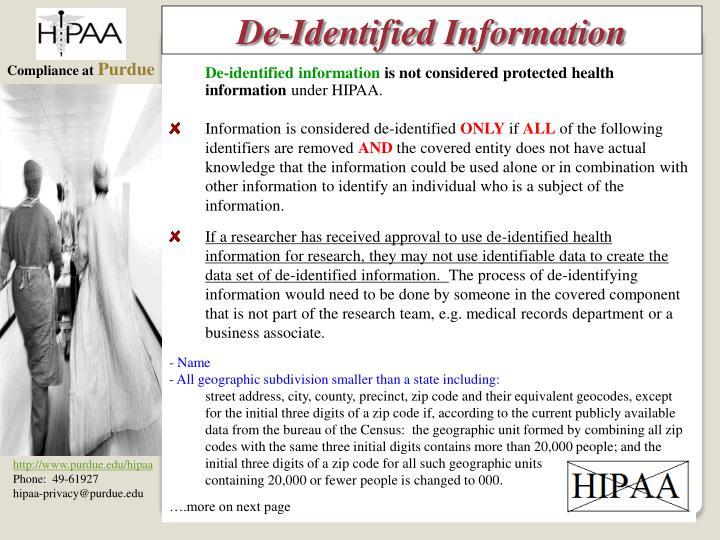De-Identified