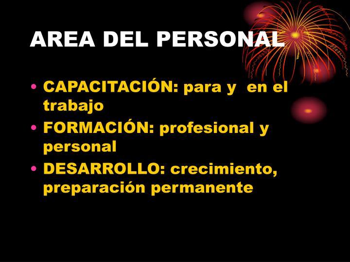AREA DEL PERSONAL