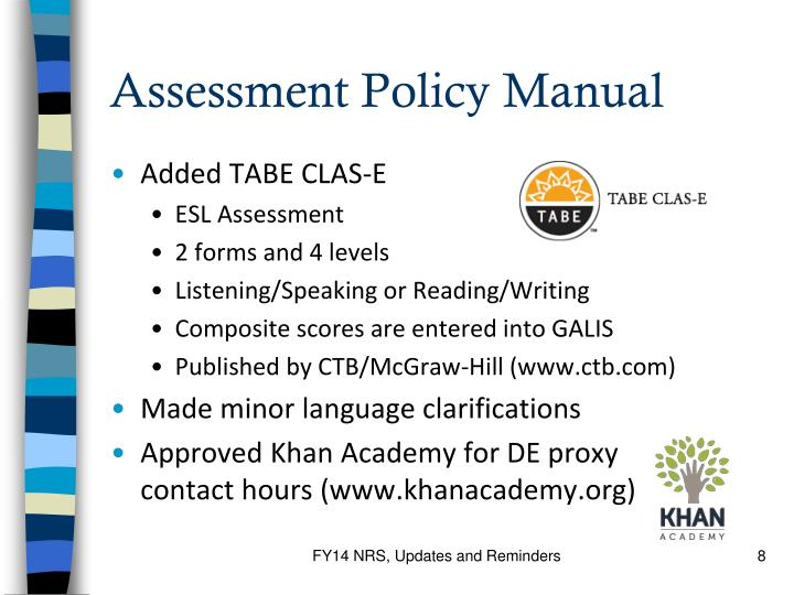 Assessment Policy Manual