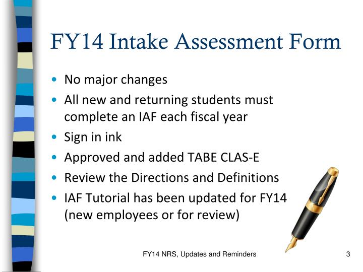 FY14 Intake Assessment Form
