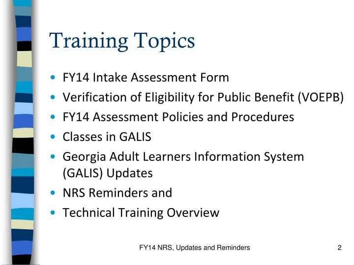 Training Topics