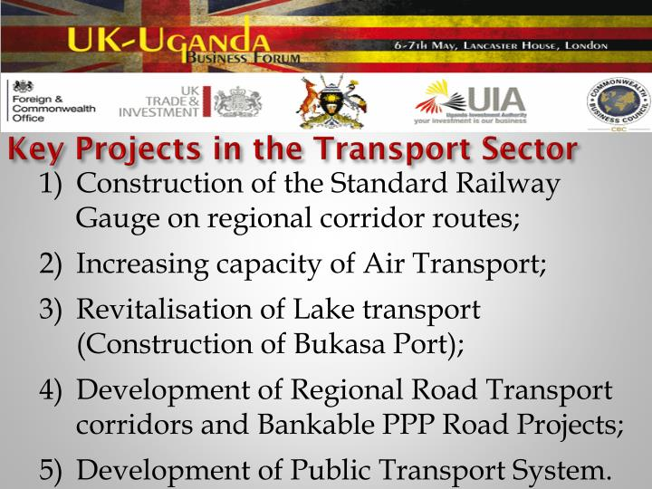 Key Projects in the Transport Sector