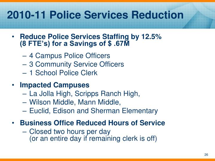 2010-11 Police Services Reduction