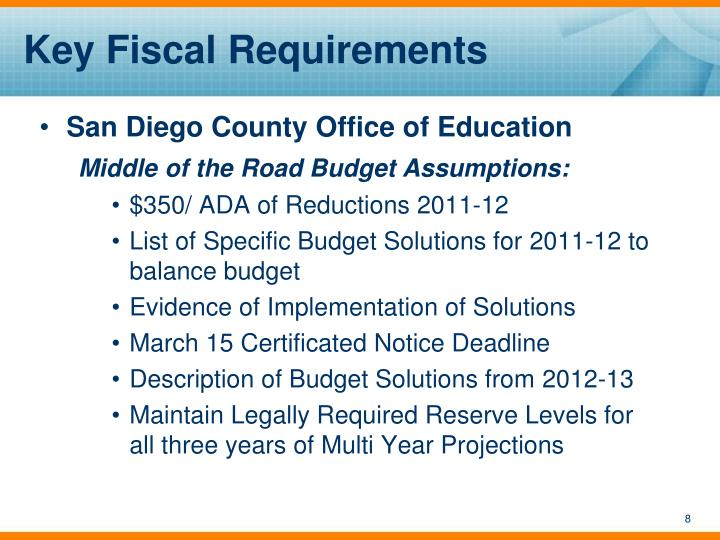Key Fiscal Requirements