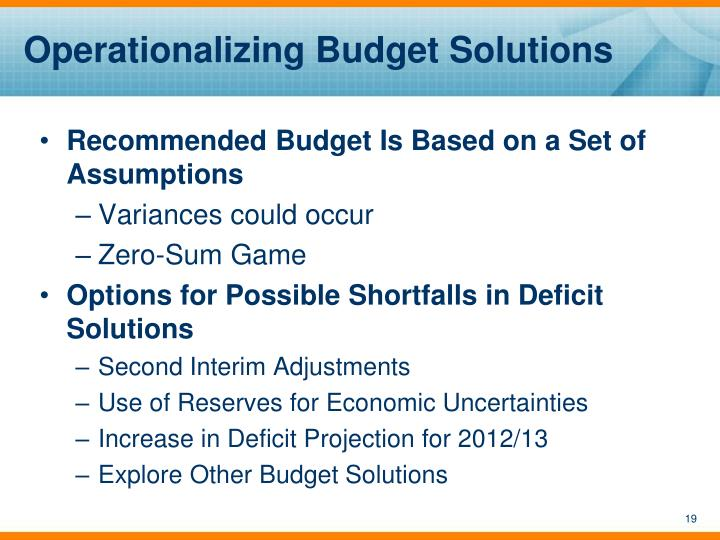 Operationalizing Budget Solutions