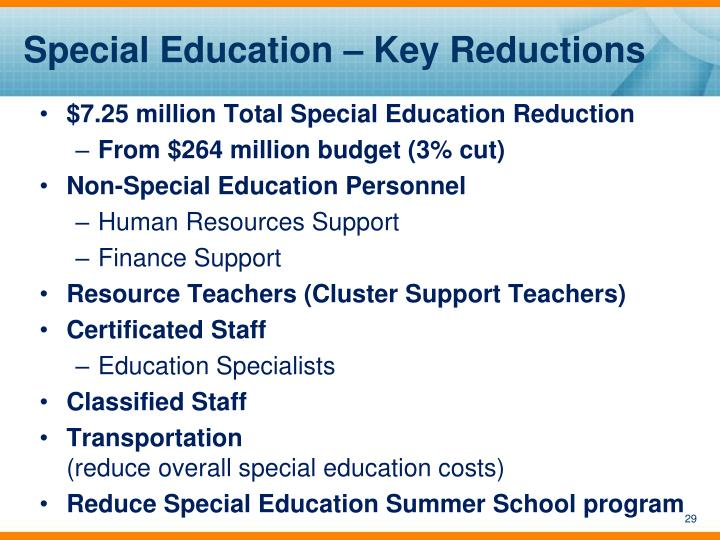 Special Education – Key Reductions