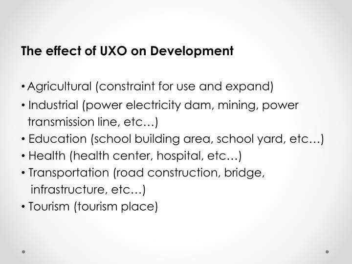 The effect of UXO on Development
