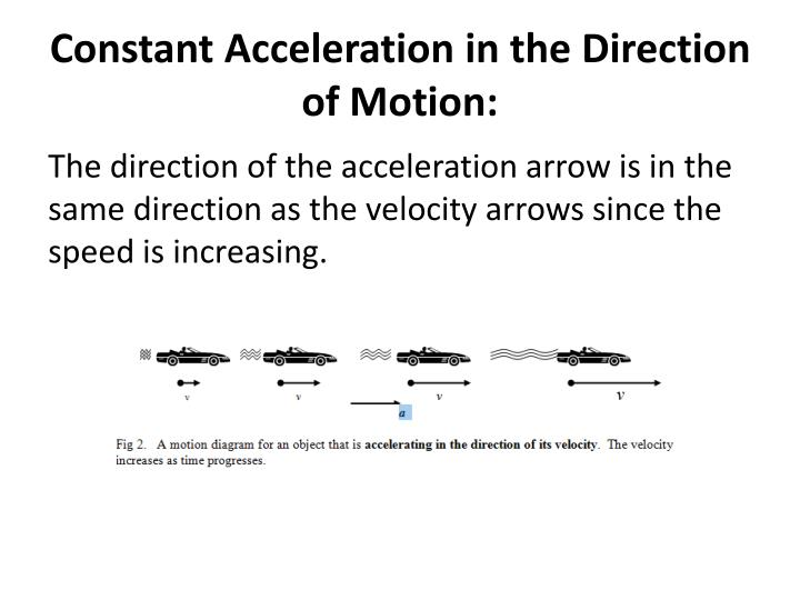 Constant Acceleration in the Direction of Motion: