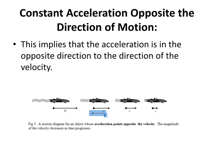 Constant Acceleration Opposite the Direction of Motion: