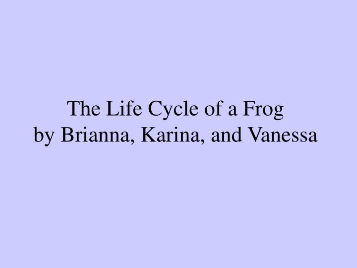The life cycle of a frog by brianna karina and vanessa