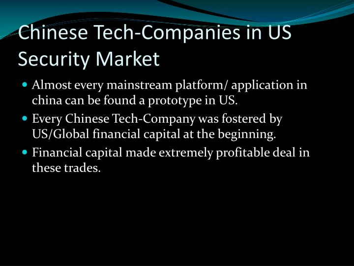Chinese Tech-Companies in US Security Market