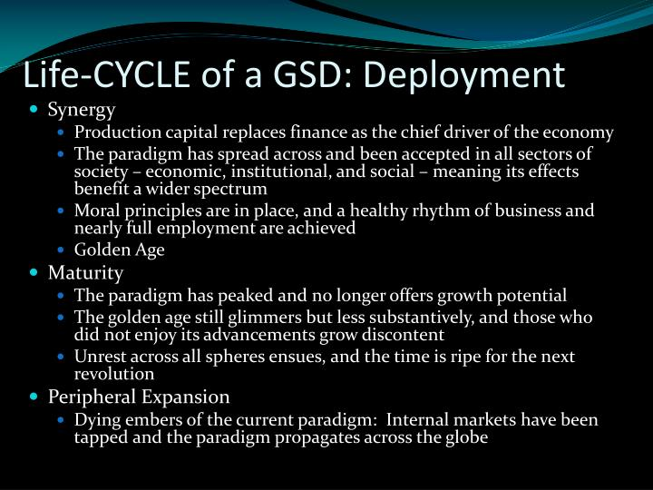 Life-CYCLE of a GSD: Deployment