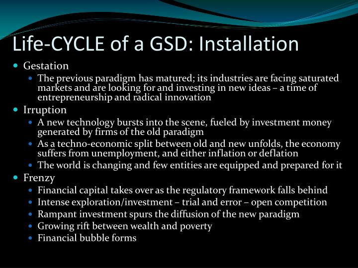 Life-CYCLE of a GSD: Installation