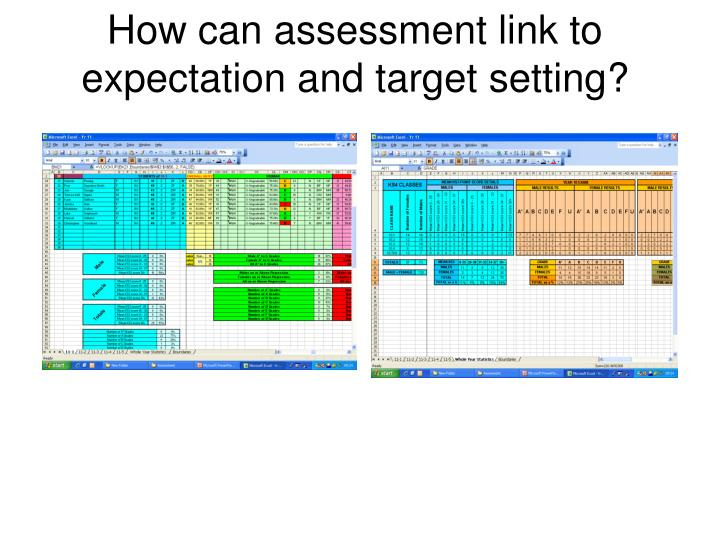 How can assessment link to expectation and target setting?